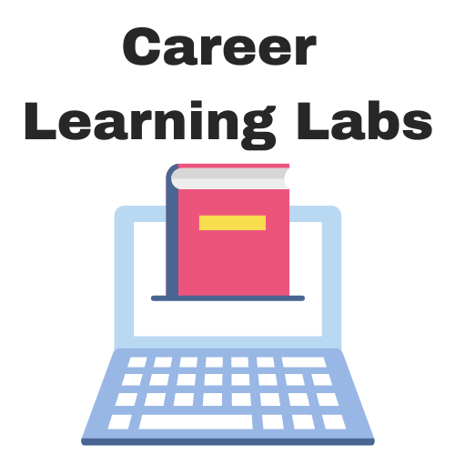 Career Learning Labs title with image of computer and book